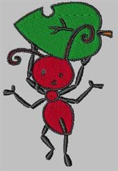 Ant with Leaf embroidery design