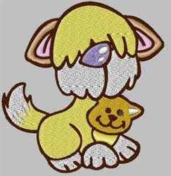 Doggy & Kitty embroidery design