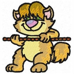 Tugging Kitty embroidery design