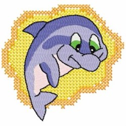 Funny Dolphin embroidery design