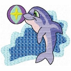 Playing Dolphin embroidery design