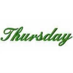 Thursday embroidery design