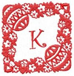 Easter Alpha K embroidery design