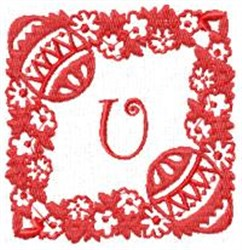Easter Alpha U embroidery design