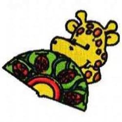 Giraffe And Fan embroidery design