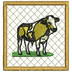 Bull Coaster embroidery design