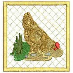Hen Coaster embroidery design