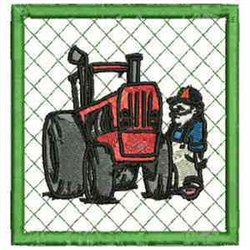 Tractor Coaster embroidery design