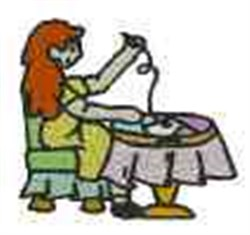 Woman Quilting embroidery design