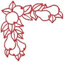 Fruit Corner Outline embroidery design