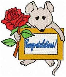 Mouse Congratulations embroidery design
