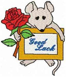 Mouse Good Luck embroidery design