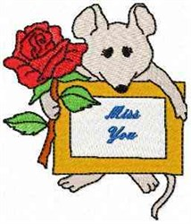 Mouse Miss You embroidery design