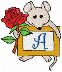 Mouse Note A embroidery design