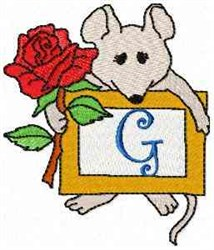 Mouse Note G embroidery design