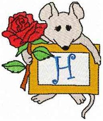 Mouse Note H embroidery design