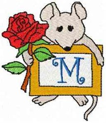 Mouse Note M embroidery design