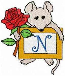 Mouse Note N embroidery design