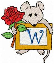 Mouse Note W embroidery design