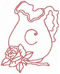 Rose Pitcher Letter C embroidery design