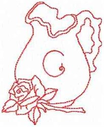 Rose Pitcher Letter G embroidery design