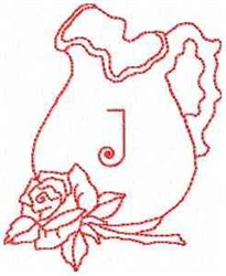 Rose Pitcher Letter J embroidery design