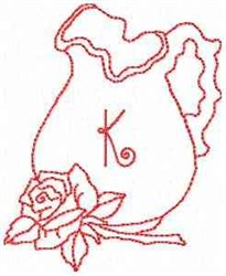 Rose Pitcher Letter K embroidery design