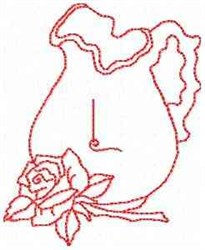 Rose Pitcher Letter L embroidery design