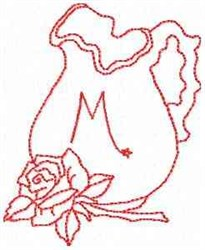 Rose Pitcher Letter M embroidery design