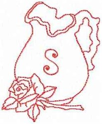 Rose Pitcher Letter S embroidery design