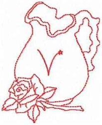 Rose Pitcher Letter V embroidery design