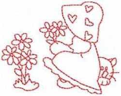 Sunbonnet Girl And Flowers embroidery design