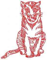 Sitting Tiger embroidery design