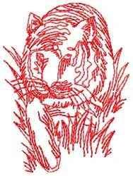 Redwork Tiger embroidery design