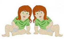 Twin Girls embroidery design