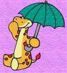 Giraffe In Umbrella embroidery design