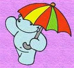 Hippo In Umbrella embroidery design