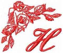 Valentine Font H embroidery design