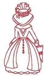 Redwork Victorian Woman embroidery design
