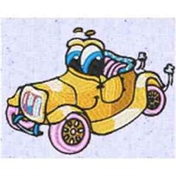 Silly Antique Car embroidery design