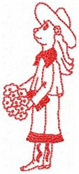 Cowgirl Flowers Redwork embroidery design