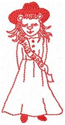 Rodeo Girl Redwork embroidery design