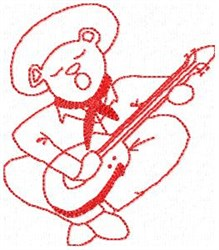 Singing Bear Redwork embroidery design