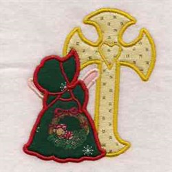 Applique Sun Bonnet Cross embroidery design