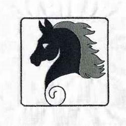 Black Horse Head embroidery design