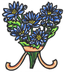 Blue Flower Bouquet embroidery design
