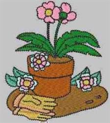 Floral Pot embroidery design
