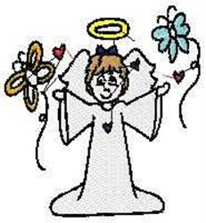 Angel with Butterfly embroidery design