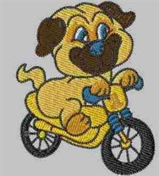 Dog on Bike embroidery design