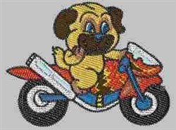 Puppy on Motorbike embroidery design